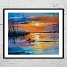 Wholesale wall art sea and boat landscape oil painting