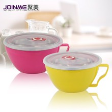 Double stainles steel fresh noodle mugs with lid