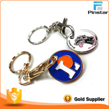 Factory Wholesale Nice Quality Metal Trolley Coin Keyring