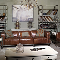 Industrial Vintage Leather Le corbusier Sofa Set with Wheels