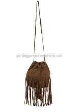 lady fashion suede geuine leather handbag tissue handbag