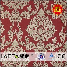 red home damask wallpaper for living room