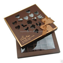 brown fancy kraft box with heart and words shaped hollow design, the nobel colr let the gift box own light shine