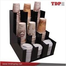 Black Acrylic Coffee Cup Dispensers and Lid Holders,Display Racks Supplier Coffee Mug Holder