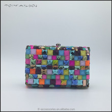 brand design bags high quality multi crystal stones evening clutch handbags with PU lining TFG1533