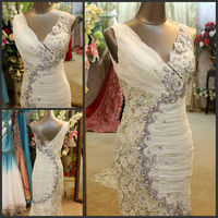 Miraculous Lace Designer Sexy Shoulder Deep V-neckline Lace Lenghth Bead Diamond Mermaid Real Sample Evening Dresses 2013 XJ-010