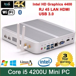 mini itx case 4GB RAM i54200U Dual antennas 300M WIFI core i5 pc 197*197*29mm 1.6-2.6GHz nuc intel processor broadwell