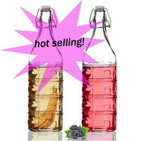 wholesale round swing top glass bottle with rubber/ceramic stopper