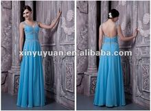 Hot! Real Sample Blue Chiffon Ankle Length Sheath Beaded Ruffle Open Back Gown Evening Dress Party Gowns PS024 Prom Dresses
