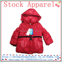 Brand stock apparel girl outwear garment outdoor fancy children girl model jacket winter 2015