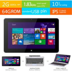 HD 11.6 inch IPS 2GB Ram intel Quad core ulta thin laptop with slide keyboard pouch