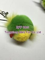 BG80946 Genuine sheared rabbit fur parrot bird keychians 2015 fashion designer