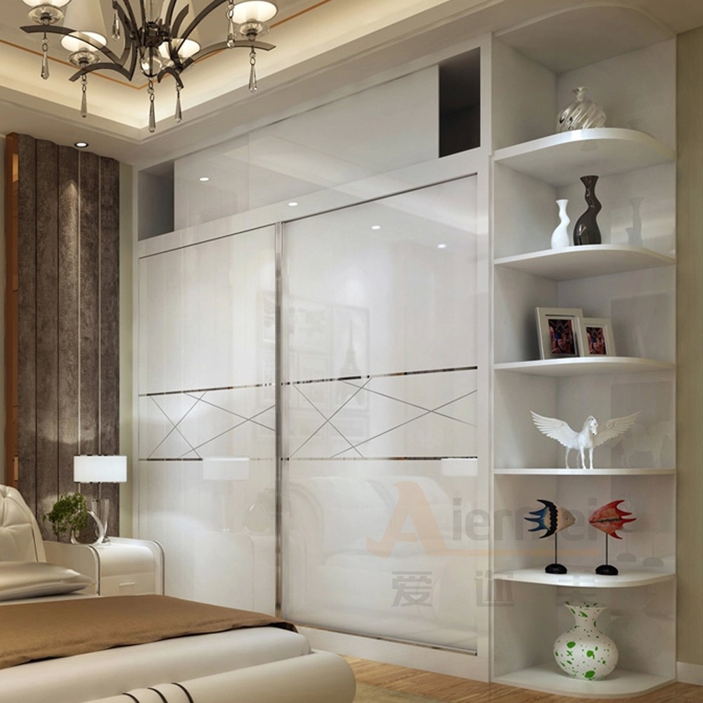 closet high gloss lacquer glass bedroom wardrobe sliding mirror doors
