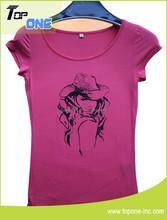 popular cotton t shirt/ ladies printing t-shirt/o neck t-shirts