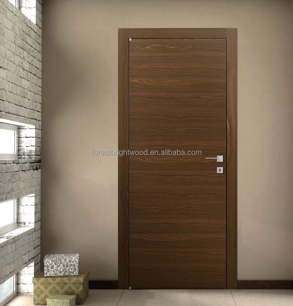 Veneer interior flush wooden doors with invisible hinges for Flush interior wood doors