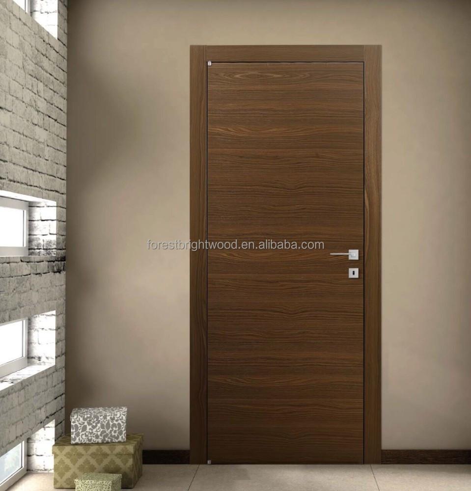 Veneer interior flush wooden doors with invisible hinges for Interior flush wood doors