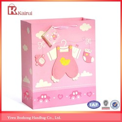3D pink baby style white gift bags paper shopping bags with handles door gift paper bag