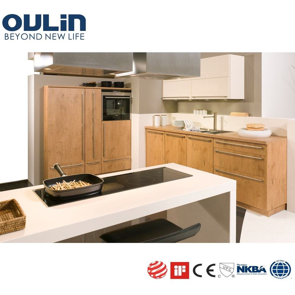 Solid wood veneer mdf kitchen cabinets view