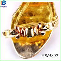 2015 latest new design HW5892 antique bronze color acrylic sandal buckles shoe accessories for women shoe
