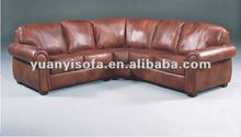 Modern leather brown sectional sofa, leather corner sofa YLC1022