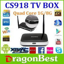 Android 4.4 RK3188 Quad core 1.8G CS918 1gb ram 8gb rom Mini PC RJ-45 USB WiFi XBMC Smart TV Media Player
