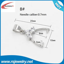 RS-8008 Factory outlet jewelry findings, 20*10mm Bells for Pendants bails Silver Findings