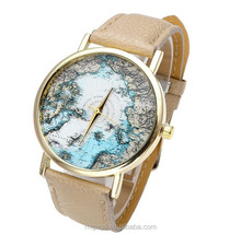 Top Oceanic Plate Arctic Sea Design Analog Alloy Quartz Gold Tone Watch
