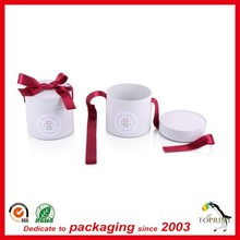 custom design gift box jewelry paper tube round shape wedding gift packaging box with red bowknot ribbon