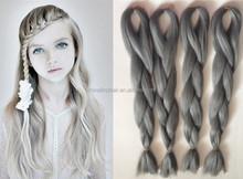 wholesale grey kanekalon braiding hair extensions Grey Coloured 100% Kanekalon Jumbo Box xpression Braiding Hair