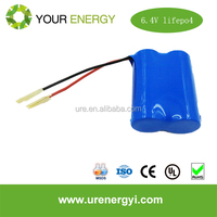 6.4V 1Ah Lifepo4 Battery Pack 18650 solar battery with cylindrical cells