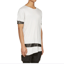 popular longline layered leather sleeves and hem tshirt