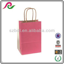 Custom Pink Printed Shopping Paper Bags With Shadow Stripes