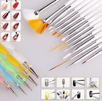 Design Painting Dotting Detailing Nail Art Pen Brushes Bundle Tool Kit Set Nail Brush 20pcs/Set Nail styling tools