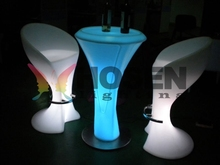 Good quality LED modern sale cheap plastic tables and chairs /plastic lighting led bar chair