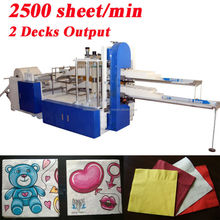 Fastest 2500 Piece Per Minute Embossing Printing High Speed Automatic Napkin Tissue Paper Converting Machine