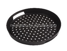 Plastic non slip round food serving tray with handle