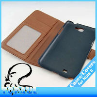 Brown credit hold magnetic hard PU leather purse case for galaxy Note 2
