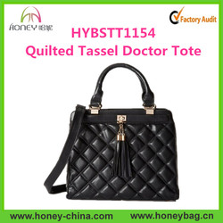Trendy Office Style Shoulder Handbag Tassel Quilted Leather Doctor Bag