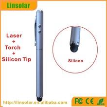 mobile phone tablet usage led flashlight laser pointer silicon tip stylus pen