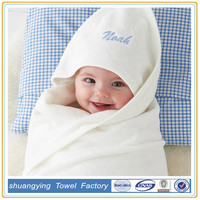 100% organic cotton solid color hooded baby towel with hooded