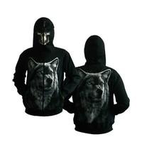 Plain black men stylish animal wolf hoodie