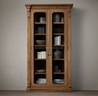 french style reclaimed wood cabinet/glass display cabinet