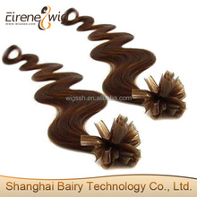 Eirene top quality cheap price deep wavy water wavy100% virgin remy keratin nail hair on sale