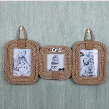 Retro Zakka Wooden Gift Hemp Rope Photo Frame For Home Decor