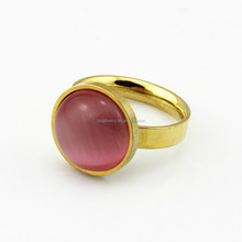 Female Noble Stainless Steel Red Gemstone Gold Ring for Party Jewelry