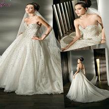LY-001 tren de la corte de cristal de espalda amor rebordeó el vestido de boda