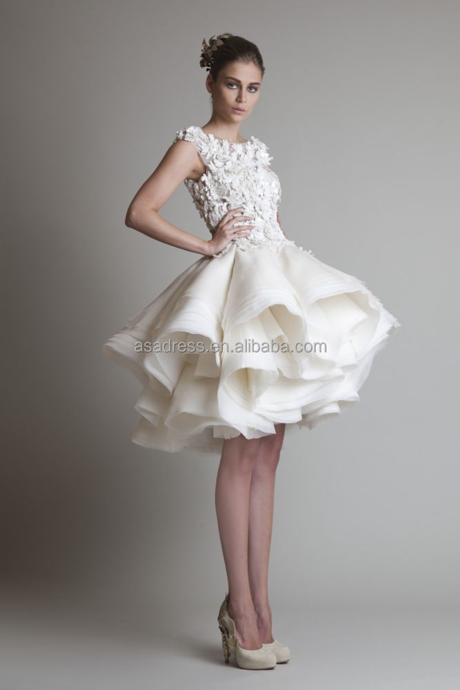 Alibaba New Style Short Organza Flowers Knee-length Dress Wedding ...