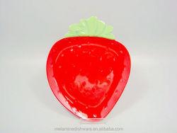 Strawberry shaped cute design fruit dessert snack serving plate