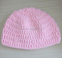 factory supply handmade crochet yellow and pink color baby hat