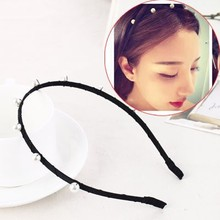 Fashion rhinestone headband with pearl T-012